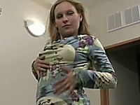 Naughty milf in pantyhose shows her tits and fingers her pussy