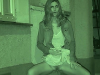 Skinny amateur slut outside in the dark urinating on the pavement