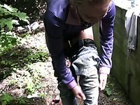 Busty Russian hottie in yoga pants has pissing fetish