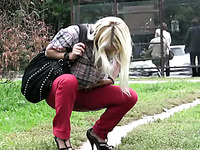 Blonde Russian college girl in the park peeing shamelessly