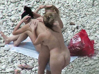 Four horny curvy MILFs got caught on my spy cam on nudist beach