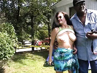 Mature brunette milfie lady shows her tits to all horny men
