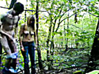 Kinky blonde girlfriend gives me a handjob in forest on weekend