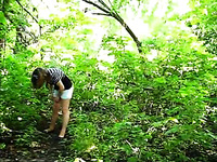 As my cute Russian GF takes a piss in forest I jack off