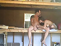 I spy on horny amateur couple fucking madly in the shed