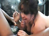 Chunky amateur smoking bitch sucks my buddy's stiff dick