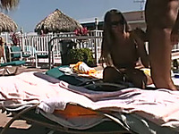 Naked light haired chick in sunglasses is fucked doggy on deck chair