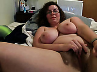 Chunky white brunette lady in glasses uses Hitachi for self-satisfaction