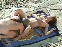Just a kinky couple on the nudist beach having passionate sex