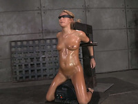 Flushing blindfolded and oiled blonde MILF gets brutally mouthfucked