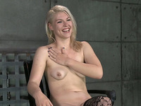 Pallid submissive blonde in black stockings is hammered from behind rough