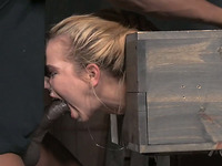 Submissive blonde gets treated in a really rough way and mouth banged