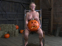 Cuffed and fixed blonde MILF gets holes fingered by perverted master