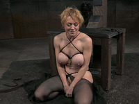 Gagged short haired auburn submissive bitch gets anal banged by black stud