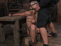 Totally immobilized blonde with big boobies has to suck big fat prick