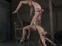 Two alike looking big breasted blonde babes get tied up and hung