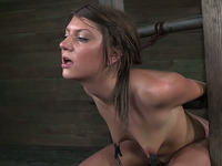 Flat chested humble brunette is belted and brutally face fucked