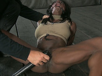 Big bottomed and buxom ebony bitch is tied up and fucked from behind