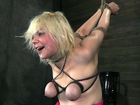 Pale busty blonde with smeared makeup gives a solid deepthroat BJ