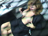 Amateur voluptuous big breasted secretary gives a really great blowjob