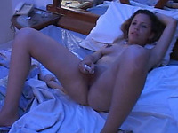 Dildo addicted brunette nympho Anita spreads legs to fingerfuck her own cunt