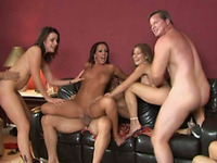Three amateur skanks enjoy ardent group banging at a swinger party