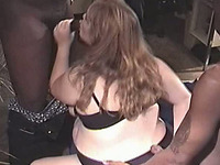Extremely fat white slut Stacie works on two strong black cocks