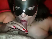 Chubby brunette babe in the mask is ready to eat cum on cam