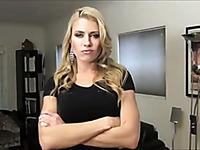 Gorgeous blonde pornstar teasing her fans on webcam