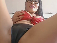 Sexy and playful Asian hoe with huge tits is playing with her dildos for me
