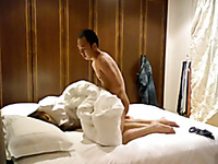 Kinky amateur Asian couple fucks in doggy position on webcam