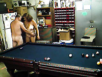 Having a sexy time with my chubby mature wife after playing snooker