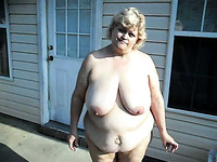 My extremely fat blonde wife completely naked on the backyard