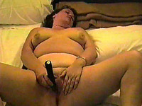 Plump BBW wife of my buddy pets herself with dildo on homemade video