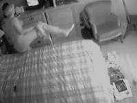 My chunky mature wife masturbating in the bedroom on hidden cam