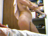 Hidden cam vid of amateur pale wifey of mine being all naked in bedroom