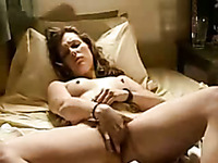 Buxom light haired MILFie wife of my buddy fingers her own pussy