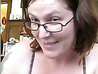 Short haired mature nerdy bitch flashes her ugly tits and huge ass