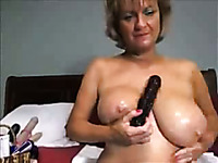 Lewd amateur webcam blonde mature lady fucks with huge dildo