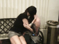 I tape two naughty chicks kissing with passion at the home party