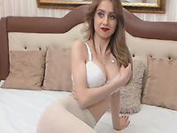 Stunning Blonde College Babe Masturbates in her Room