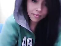 Cute brunette girlie flashes her nice tight fresh booty on webcam