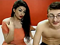 Busty light skin Indian girl and her man on webcam