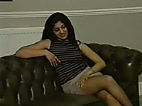 Outstanding young Desi Mitali flashes her panties onthe couch