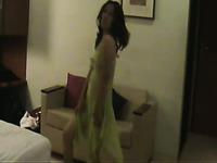 Slender natural Indian brunette MILF gives quite nice BJ on cam