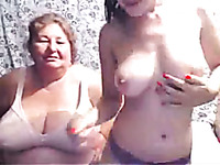 Chubby ugly mature bitch and fresh sweet busty webcam gal showed tits