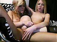 Two slender and kinky blonde lesbos with small tits played on webcam