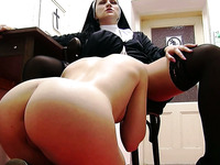 Delicious young nun pussy for another cute lesbian nun