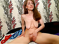 Red haired pale ugly bitch flashed me her saggy natural titties