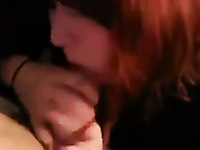 Wondrous red haired lady greedily sucks my stiff big cock for semen